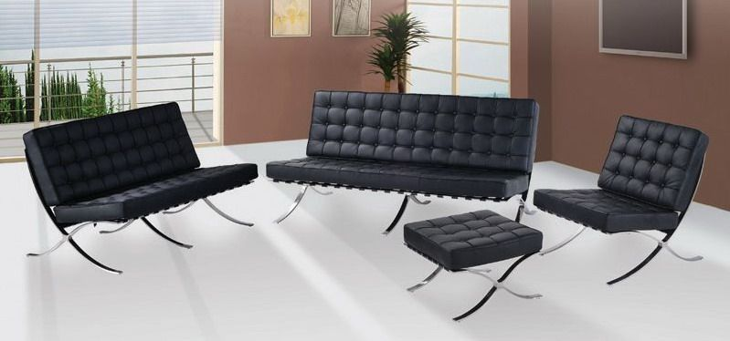 Exposition Famous Design Black Leather Sofa Prime Classic