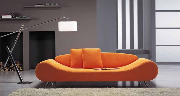 Contemporary Orange Harmony Sofa with Unique Shape