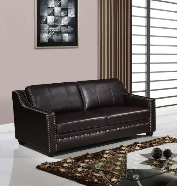 Classic Style Brown Sofa with Studded Accents and Wooden Legs