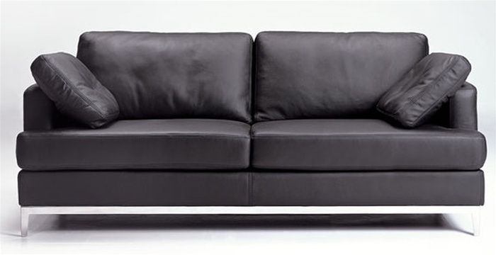 Black Full Leather Sofa with Included Throw Pillows Prime