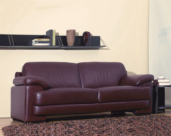 Maroon Color Leather Contemporary Design Sofa