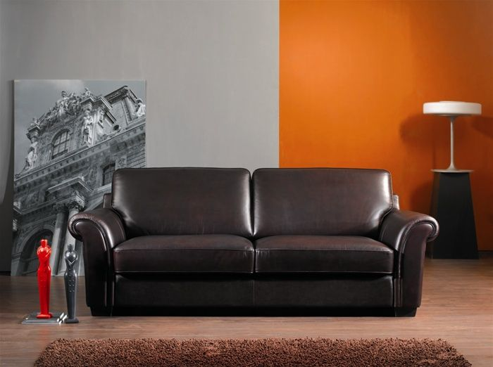 Brown color leather contemporary three seater sofa prime classic design modern italian and Modern sofas to go with any type of decor