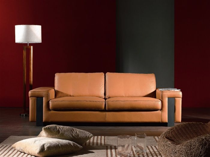 Light Brown Leather Contemporary Style Sofa