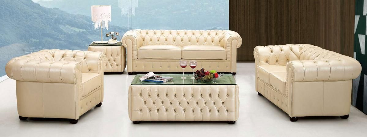 Ivory Italian Leather Sofa With Buttons Prime Classic Design, Modern Italian  And Luxury Furniture
