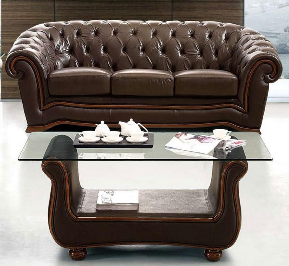 Traditional Brown Italian Leather Sofa Prime Classic Design Modern