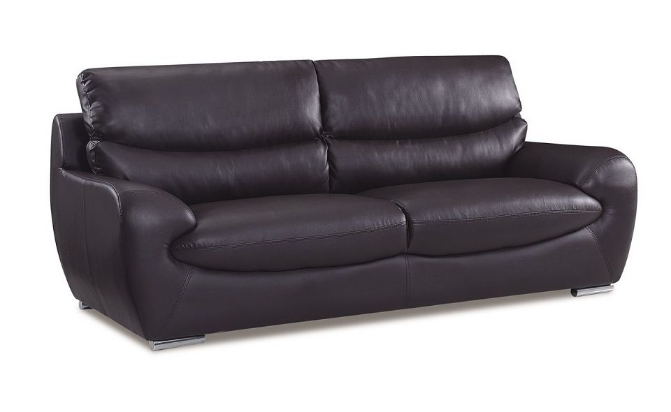 Chocolate Bonded Leather Contemporary Sofa Prime Classic Design Modern Italian And Luxury Furniture