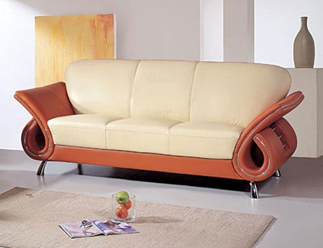 Contemporary Dual Colored Or Black Leather Sofa With