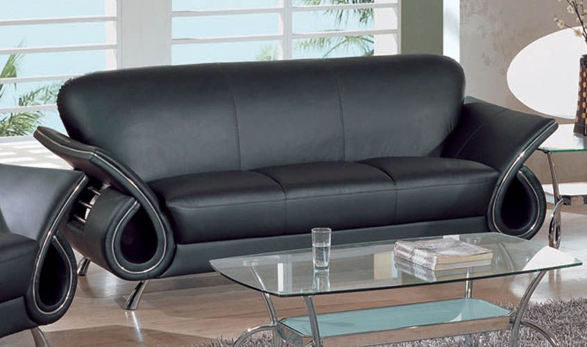 Contemporary Dual Colored or Black Leather Sofa with Chrome Details