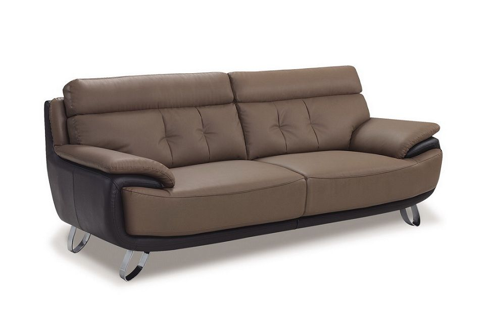 Contemporary Tan / Brown Bonded Leather Sofa Shop modern Italian and ...