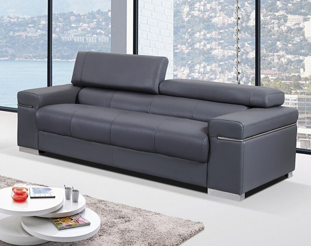 Contemporary sofa upholstered in grey thick italian leather prime classic design modern italian Designer loveseats