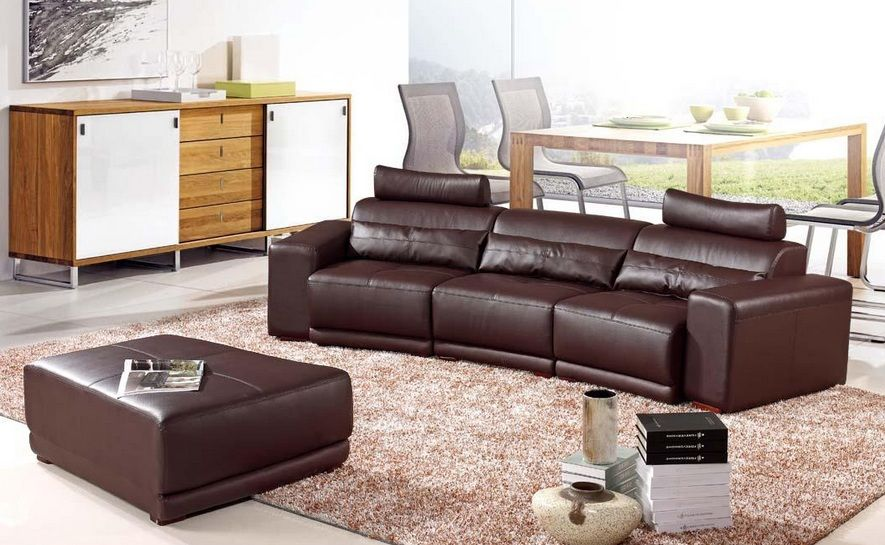 Dark Brown Bonded Leather Sofa with Matching Ottoman Shop modern ...