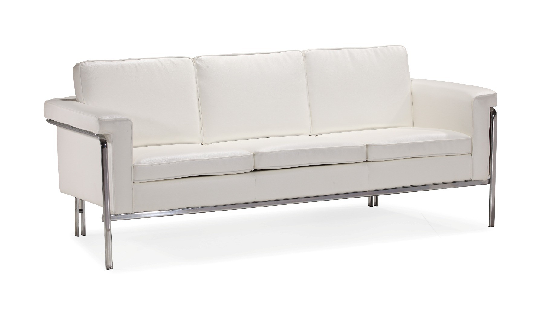 White Or Black Leather Contemporary Sofa With Chrome Legs And Frame