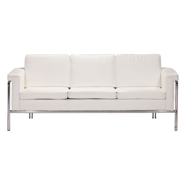 White Or Black Leather Contemporary Sofa With Chrome Legs