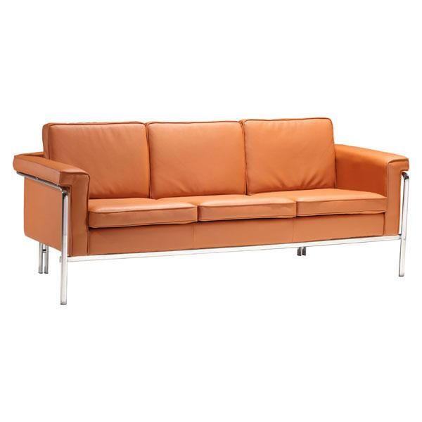 White Sofa With Chrome Legs: White Or Black Leather Contemporary Sofa With Chrome Legs