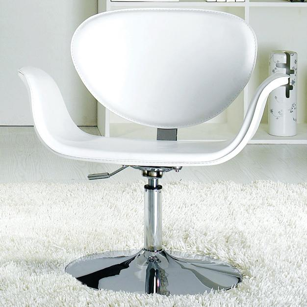 Black Or White Leisure Swivel Chair With Round Chrome Base Prime Classic Desi