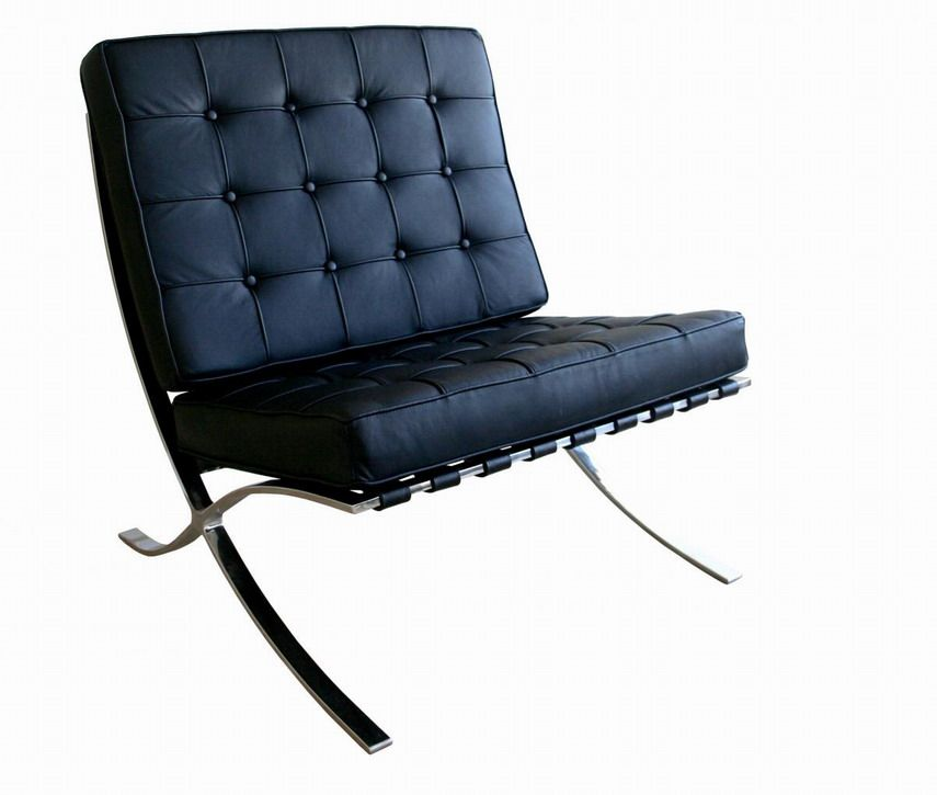 Exposition Famous Design Black Leather Chair Los Angeles California Ahf04