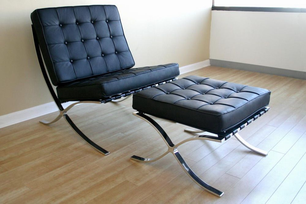 Exposition Famous Design Black Leather Chair Los Angeles