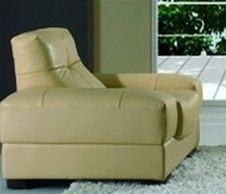 Cream Color Italian Leather Contemporary Living Room Chair Shop
