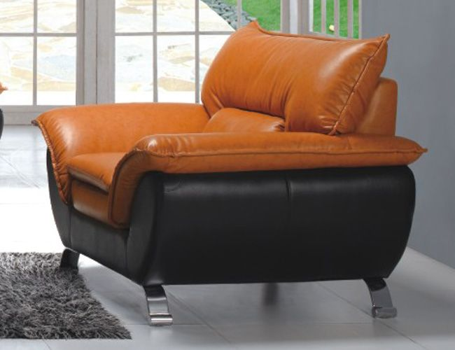 Comfortable and Contemporary Half Leather Living Room Arm Chair 3411 ...