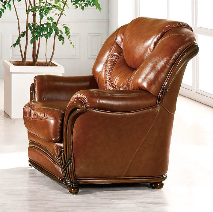 Brown classic italian leather living room chair prime for Living room stools furniture