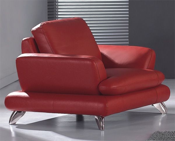 European Contemporary Style Leather Red Dawn Armchair