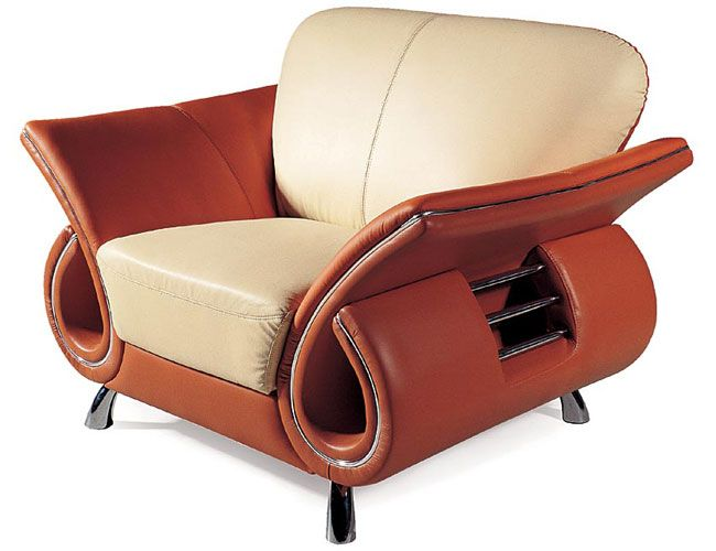 Contemporary Dual Colored Or Black Leather Chair With
