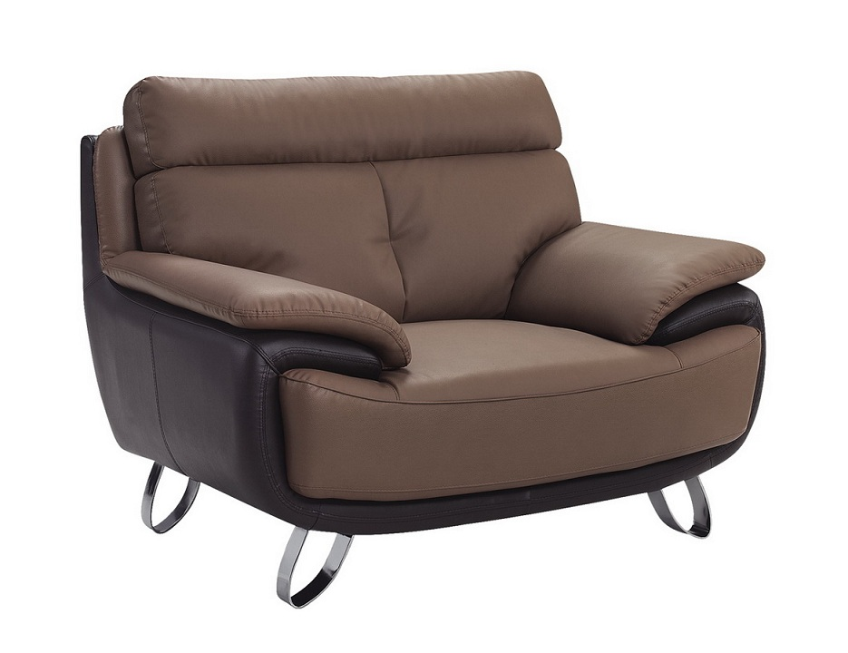 Contemporary Tan Brown Bonded Leather Living Room Chair