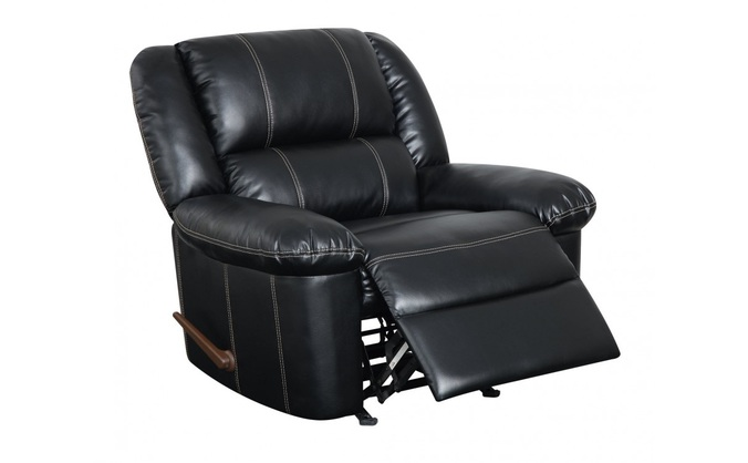 Contemporary Black Upholstered Reclining Rocker Chair