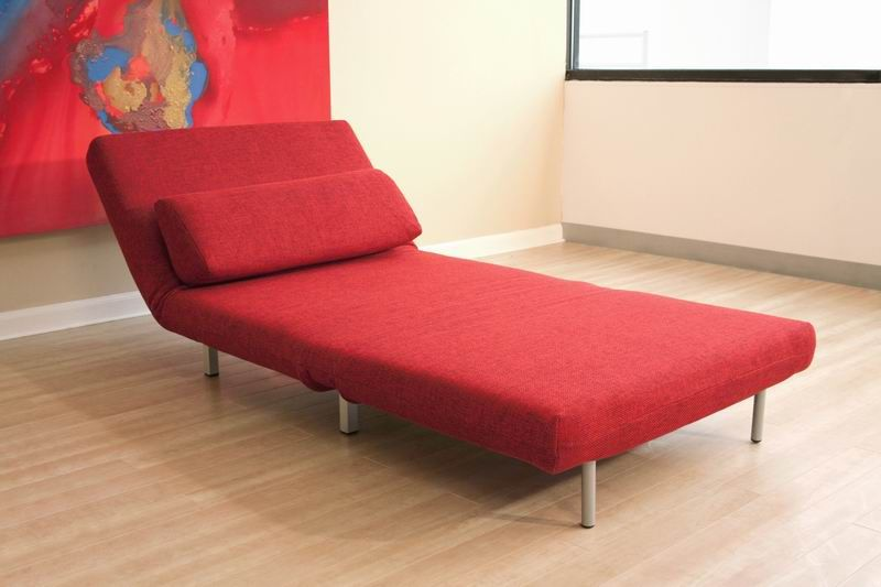 Covertible Chair In Black Or Red Microfiber Chicago