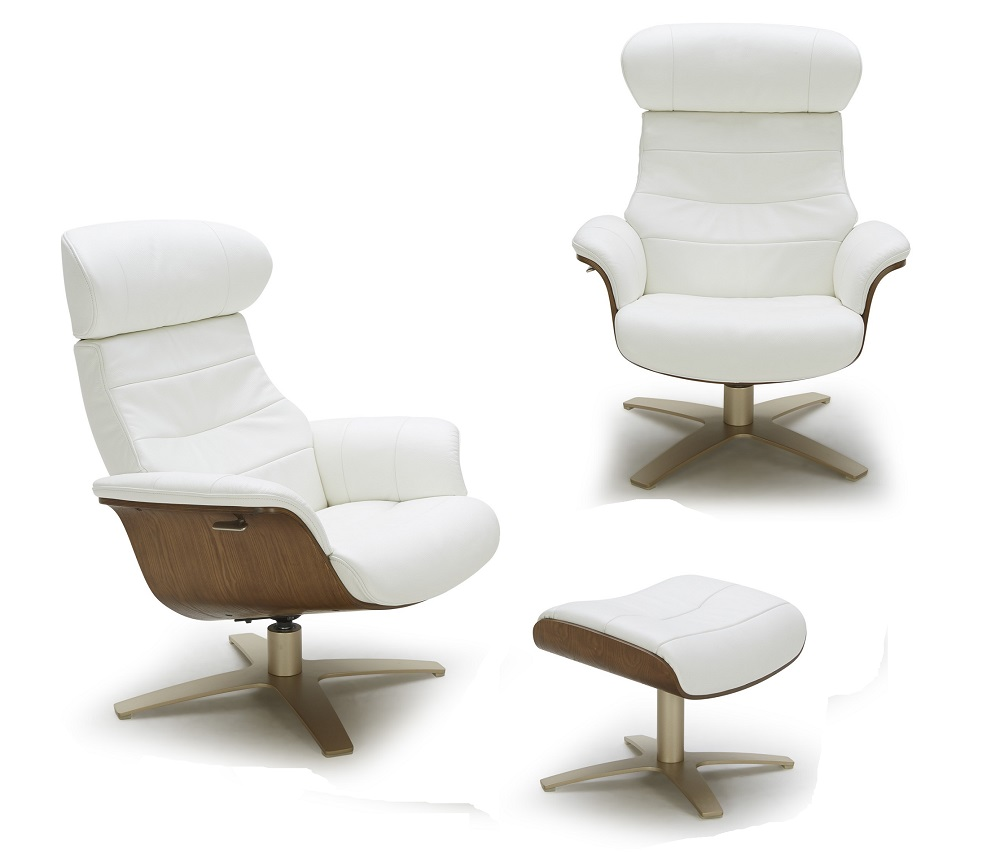 Futuristic modern leather upholstered swivel lounge chair for Modern leather chair