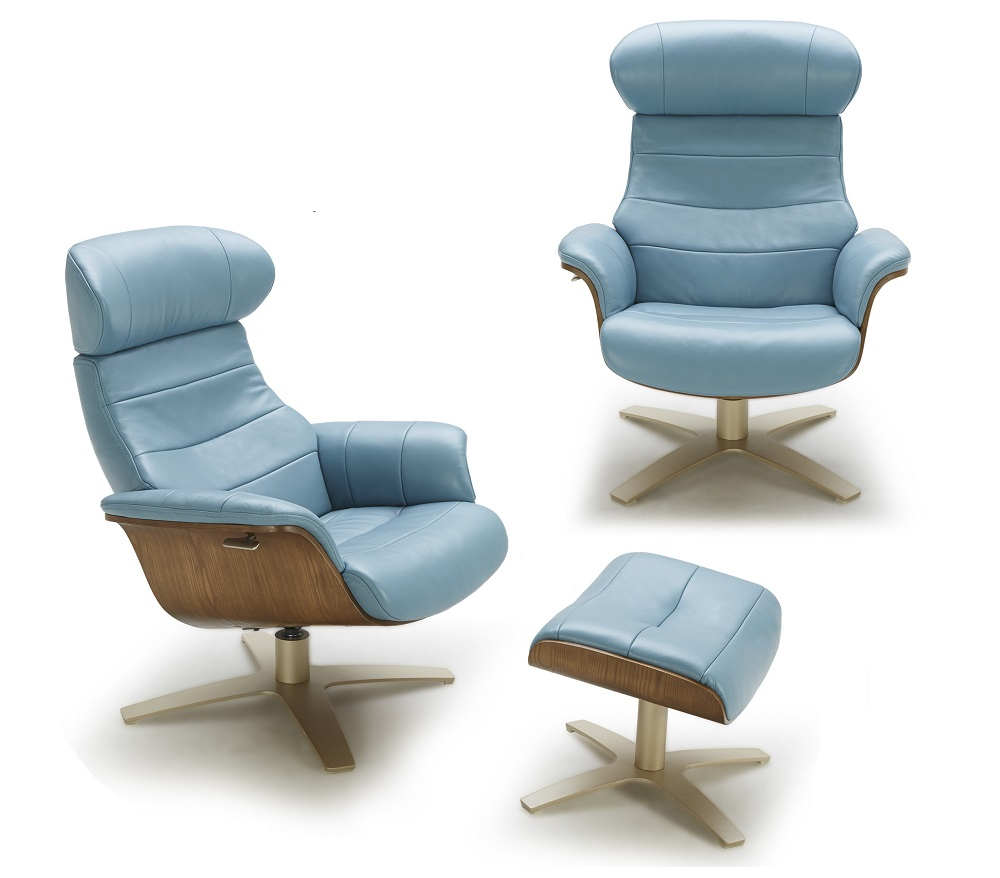 Futuristic Modern Leather Upholstered Swivel Lounge Chair
