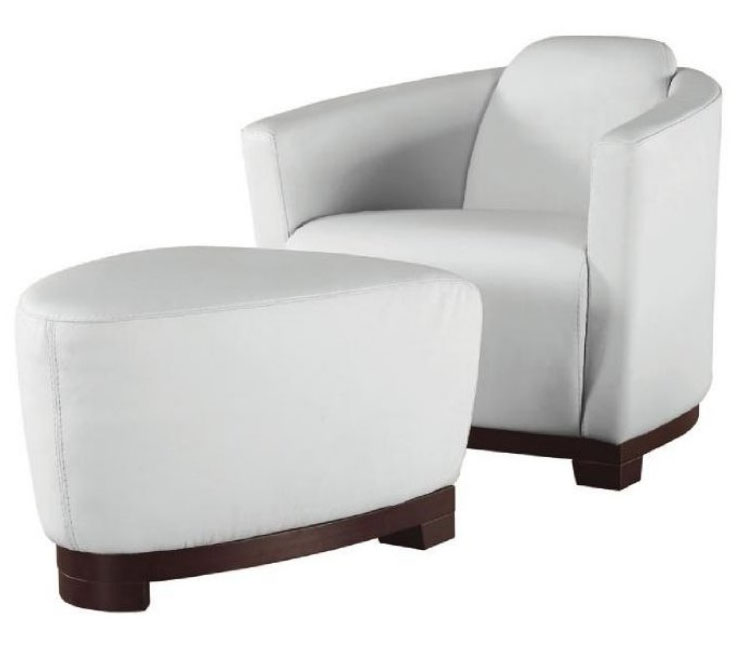 Full Leather Very Contemporary Accent Lounge Chair With Ottoman Fort