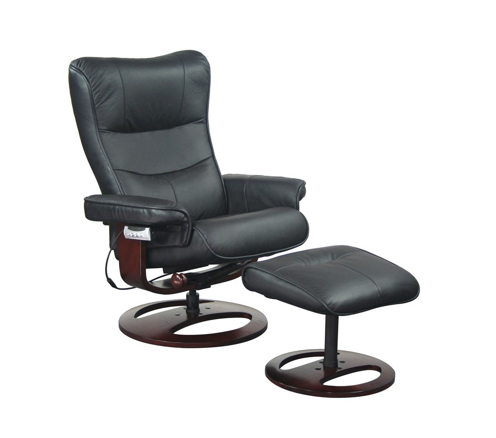 Black Color Reclining Chair with Ottoman and Remote Audio Indianapolis Indian