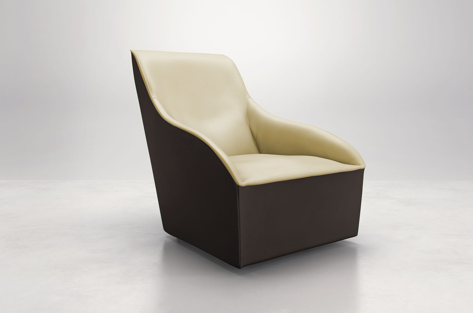 Comfy curvy contemporary leather arm accent lounge chair for Modern comfy chairs