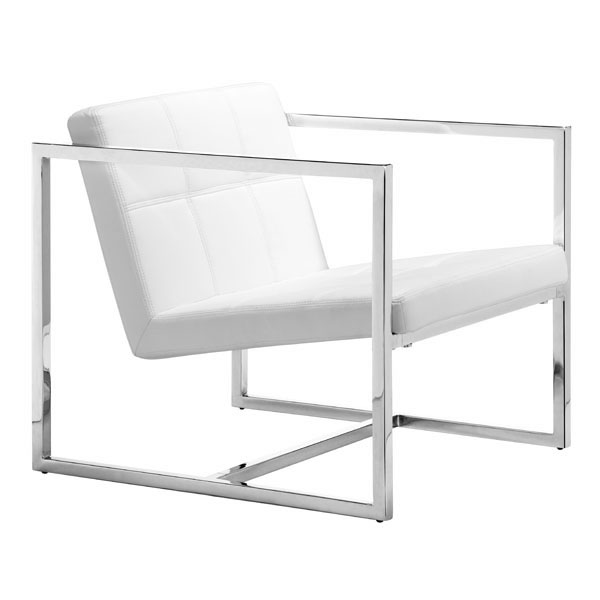 White Soft Leatherette Accent Chair With Square Chrome Frame San Francisco California Zuocar