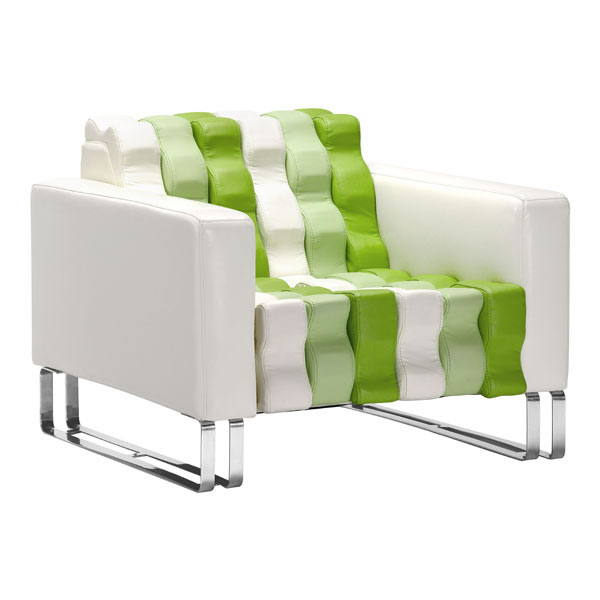 Unique and Contemporary White Green Accent Arm Chair with Ripples