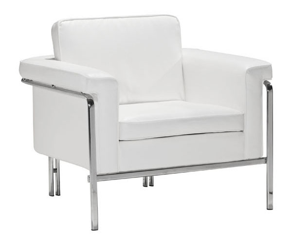 White Leather Contemporary Chair with Chrome Legs and Frame
