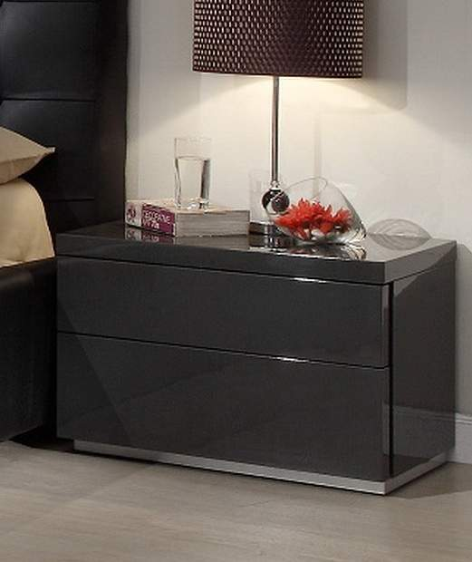 Dark Grey Gloss Functional Night Stand For Contemporary