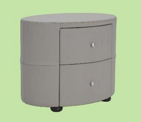Light Gray Nightstand: Excite Light Grey Leather Oval Shape Night Stand Prime