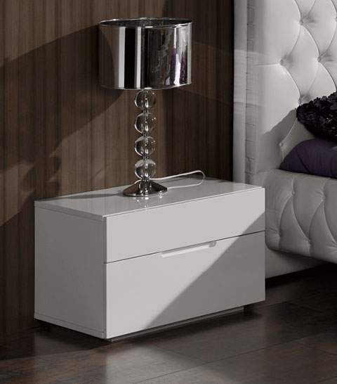 Contemporary spain made white gloss nightstand with two for Contemporary dressers and nightstands