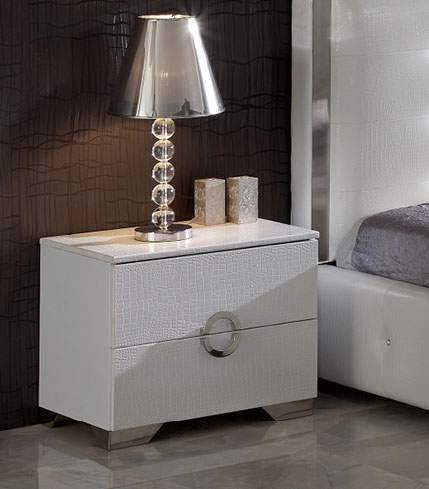 Coco Spain Made Night Stand In White Crocodile Leather