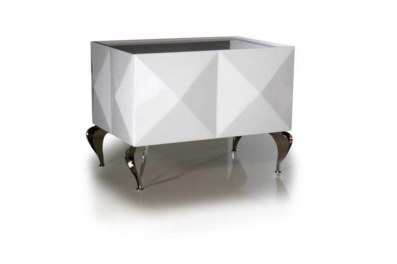 Luxury White Lacquer High Quality Night Table Prime