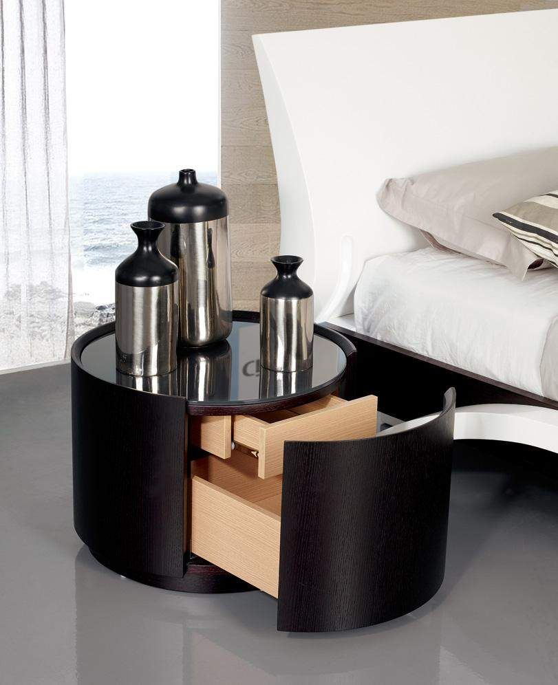 contemporary round nightstand with glass top and unique storage space