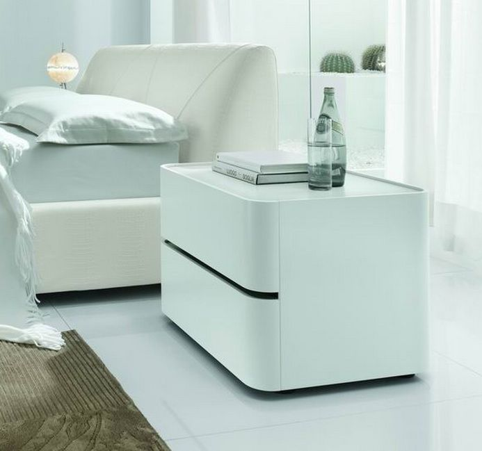 Contemporary White Italian Night Stand Prime Classic