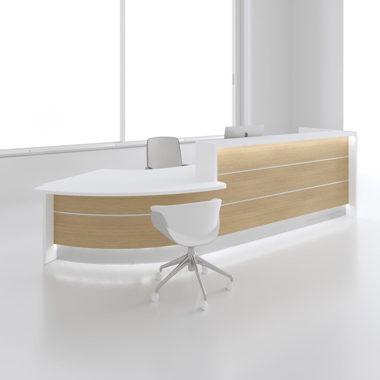 Modern Office Desks Furniture Beautiful Left Curved Canadian Oak Countertop Reception Desk