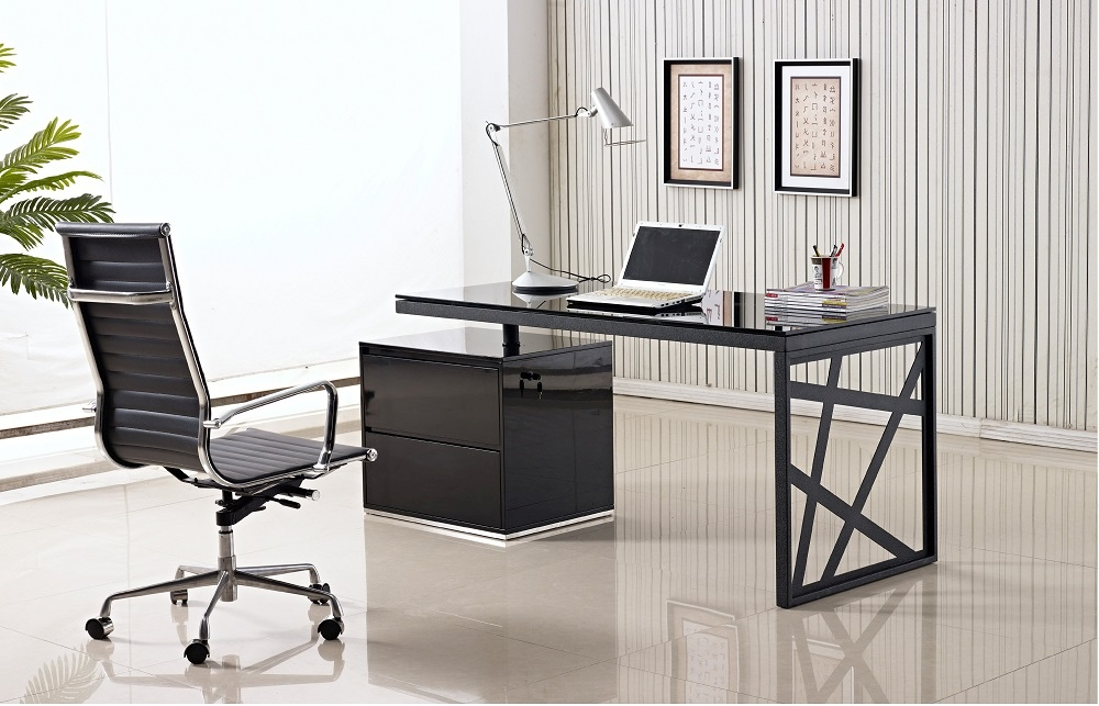 Black Lacquered Office Desk With Two Drawer Cabinet Charlotte North