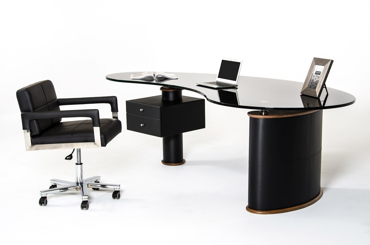 Swell Black Modern Executive Desk With Walnut Accent Home Interior And Landscaping Ologienasavecom
