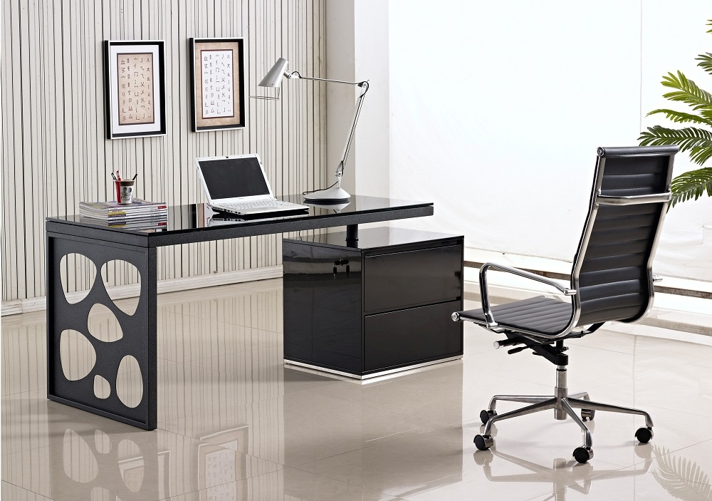 Black Office Desk With Unique Legs And Glossy Black Top