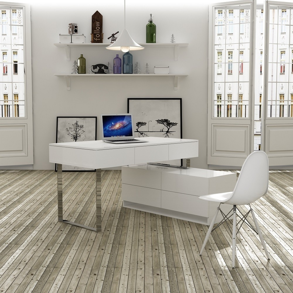 Modern Office Desk: Desk And Hutch In White Lacquer Finish With Multiple
