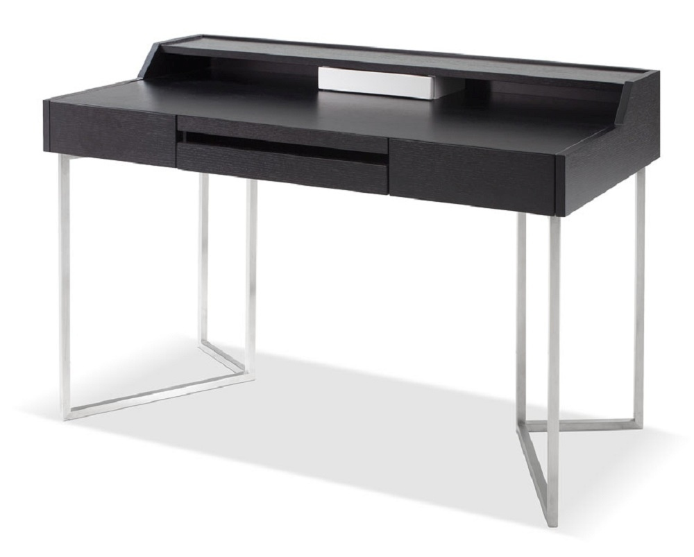 Dark Oak Contemporary Office Desk With Chrome Legs And